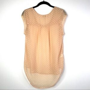 Daniel Rainn cap sleeved peach top, size S